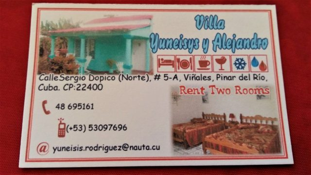 Card for the Casa in Vinales