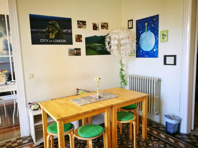 Part of the dining area at Fabrizzio's Petit - the best hostel in Barcelona