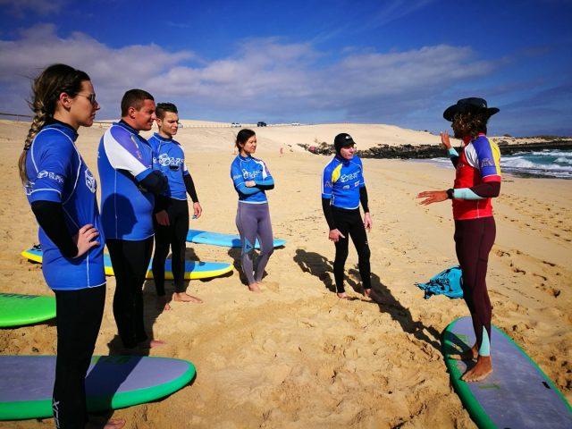 Our Surf Teacher Nando teaching our Surf Lesson in Fuerteventura