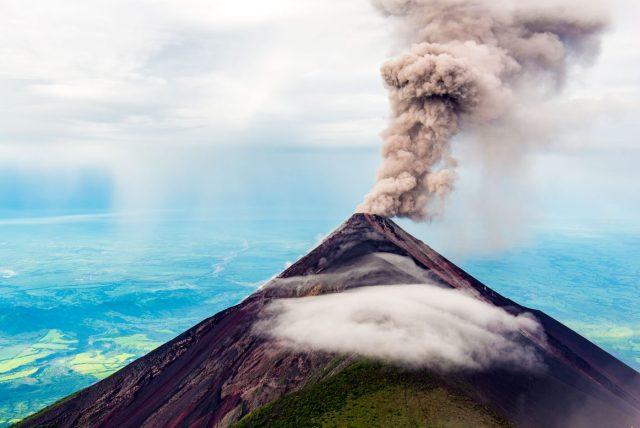 Fuego Volcano Spewing Smoke & Ash - The view from Volcano Acatenango. Backpacking Guatemala guide