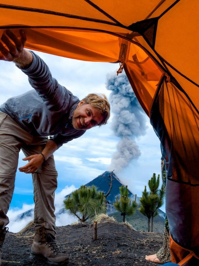 Fuego Volcano Erupting from the camp on the Acatenango Volcano