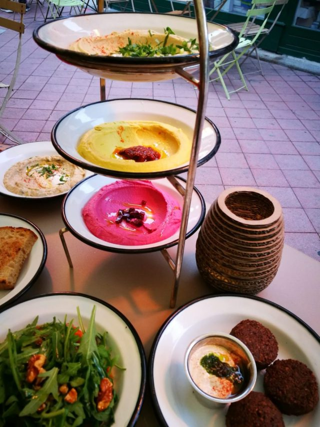Colourful Hummus at Neni in the Naschmarkt - What to eat in Vienna - must eat in Vienna