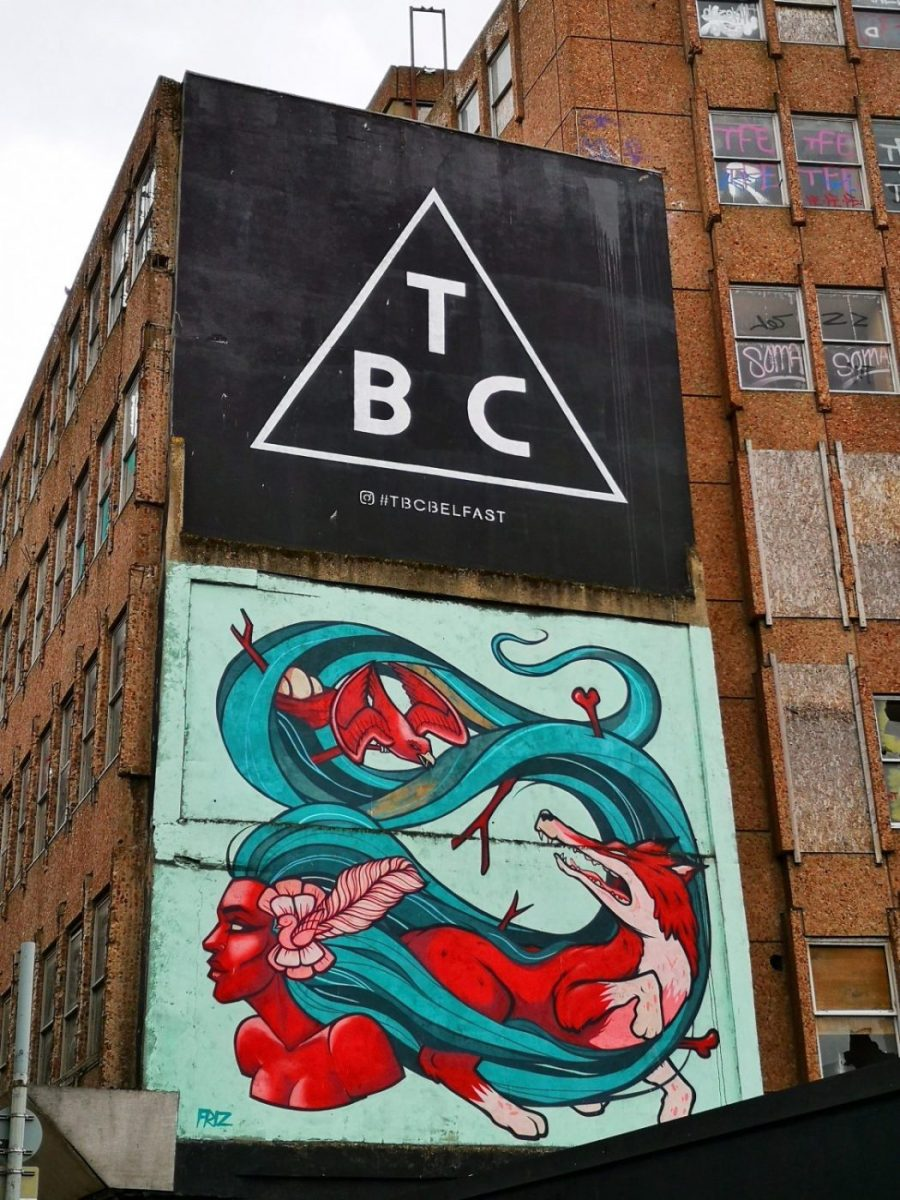 Belfast Street Art - TBC Logo & Red Woman with a fox in her hair