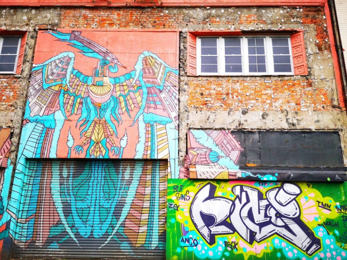 Belfast Street Art - Flying Phoenix and Name Tag