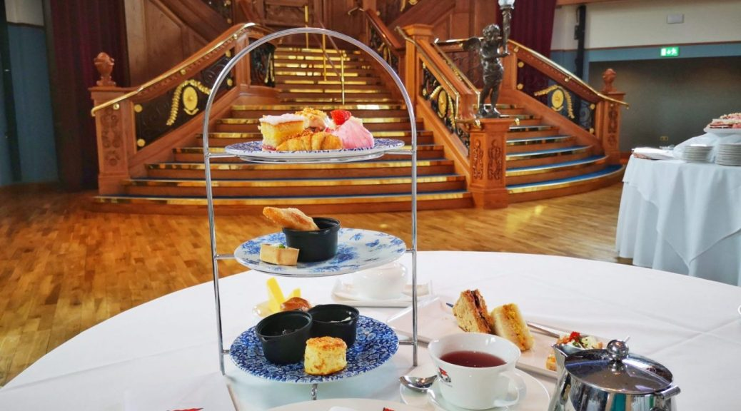 My table set for afternoon tea at the Titanic Museum in front of the Grand Staircase