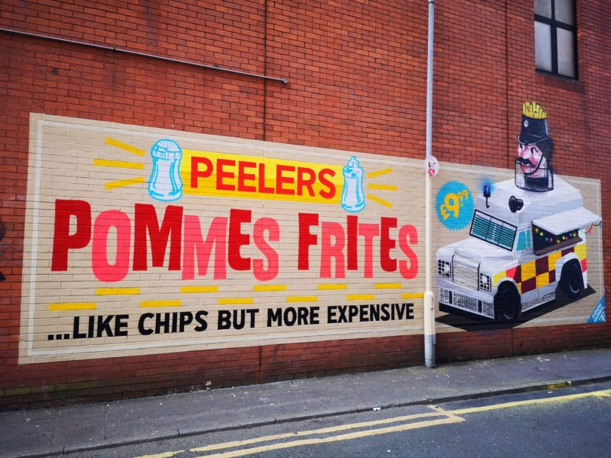 Belfast Street Art - like chips, but more expensive