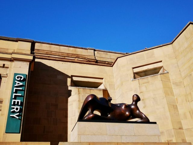 Outside Leeds Art Gallery is a sculpture by Henry Moore