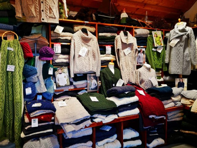 The Famous Aran Sweaters for sale on Inishmore