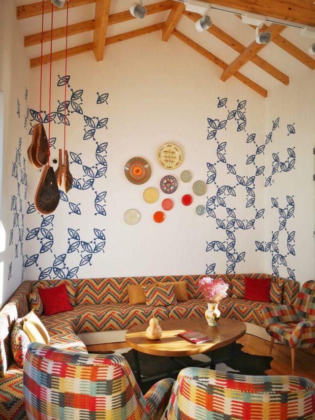 The beautiful lounge area at the Heaven Inn Hostel Evora