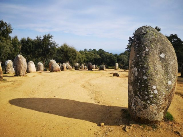 The Almendres Cromlech in Evora Portugal are thought to be 2000 years older than Stonehenge