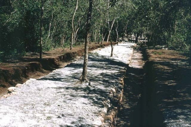 The sacbe or white road used by Maya people for centuries