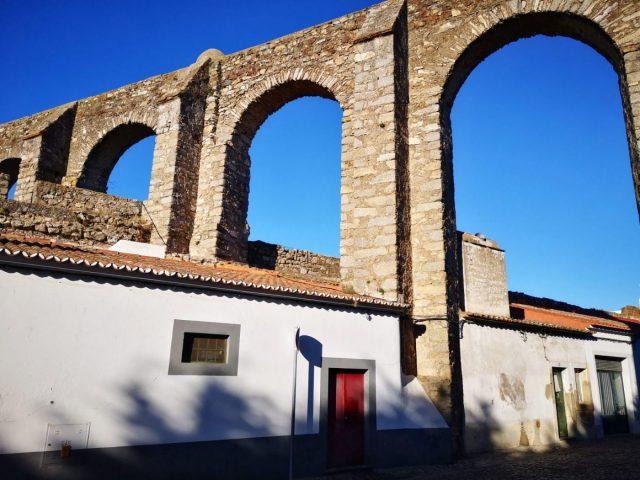 Agua da Prata Aqueduct in Evora Portugal