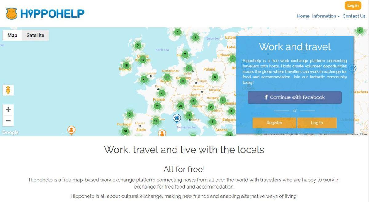 Hippohelp Screenshot - Work Exchange Websites Like Workaway HelpX WWOOF Worldpackers