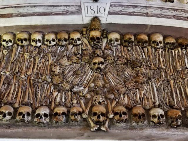 Skulls and Bones Carefully Arranged in the Chapel of Bones