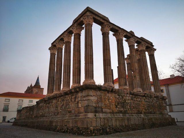 The Temple of Diana Roman Ruins in Evora