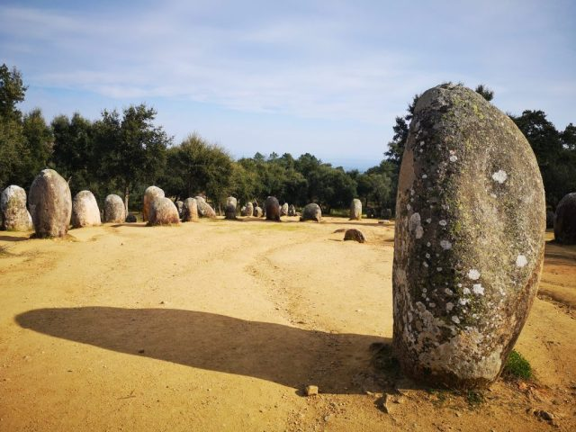 the Almendres Cromlech near Evora