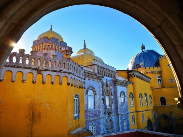 Yellow Sections of Pena Palace from the Chapel