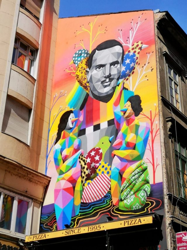 A colourful mural dedicated to the people who supplied fake passports to Jews during the war