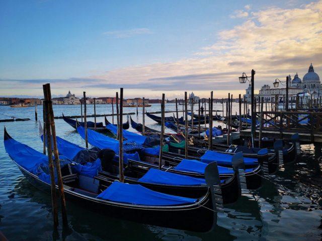 Rows of Gondolas with the Basilica Santa Maria Della Salute in the Background