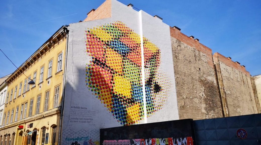 The Rubik's Cube Mural with the reminder that every problem has more than one solution