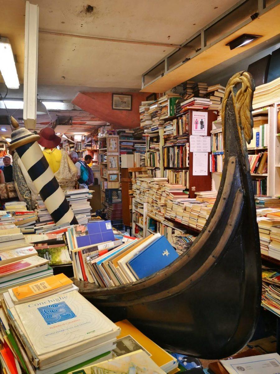 A Unique Gondola Bookshelf in Acqua Alta Bookshop