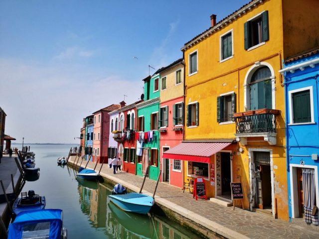 Colourful houses in Burano Island in Venice