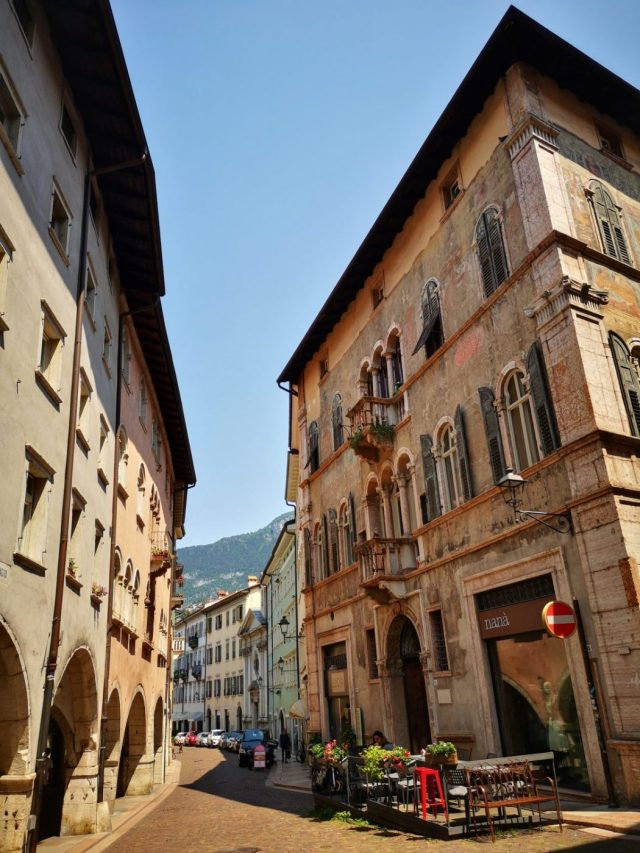 Pretty Streets in Trento with houses and a cafe