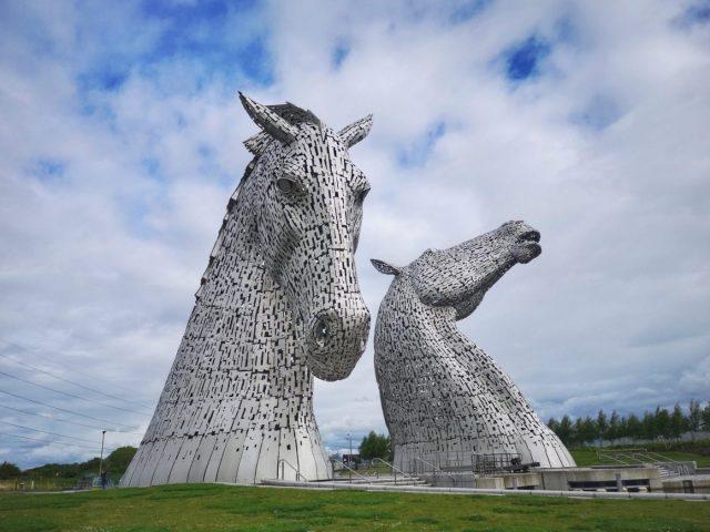 The Kelpies Roadside Art - silver Horses Head Sculptures