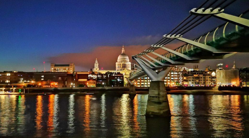 Millenium Bridge at St Paul's Cathedral at Night