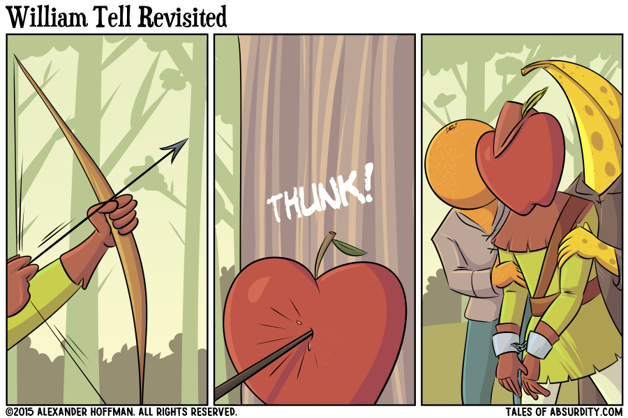 The apple doesn't fall from...the apple that shot him in the face with an arrow?