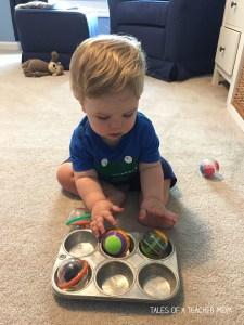 Putting balls in tin