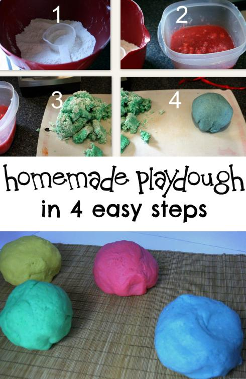 Home made play dough in 4 easy steps!