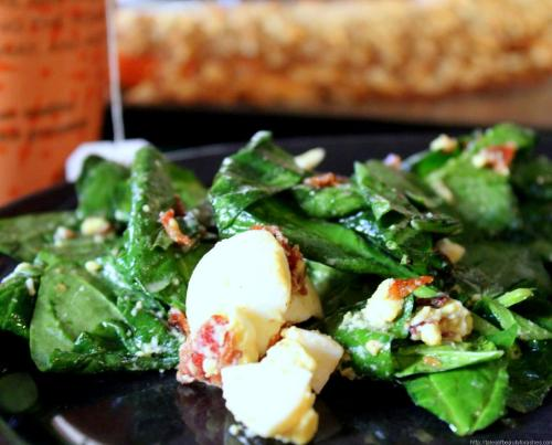 Wilted Spinach Salad with bacon and egg (8)