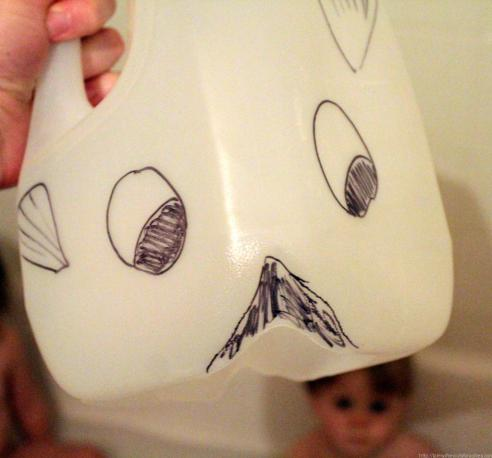 Teach about the story of Jonah and the whale using a milk jug, clothespin and bathing children. I love this idea, so easy and we could do it tonight!
