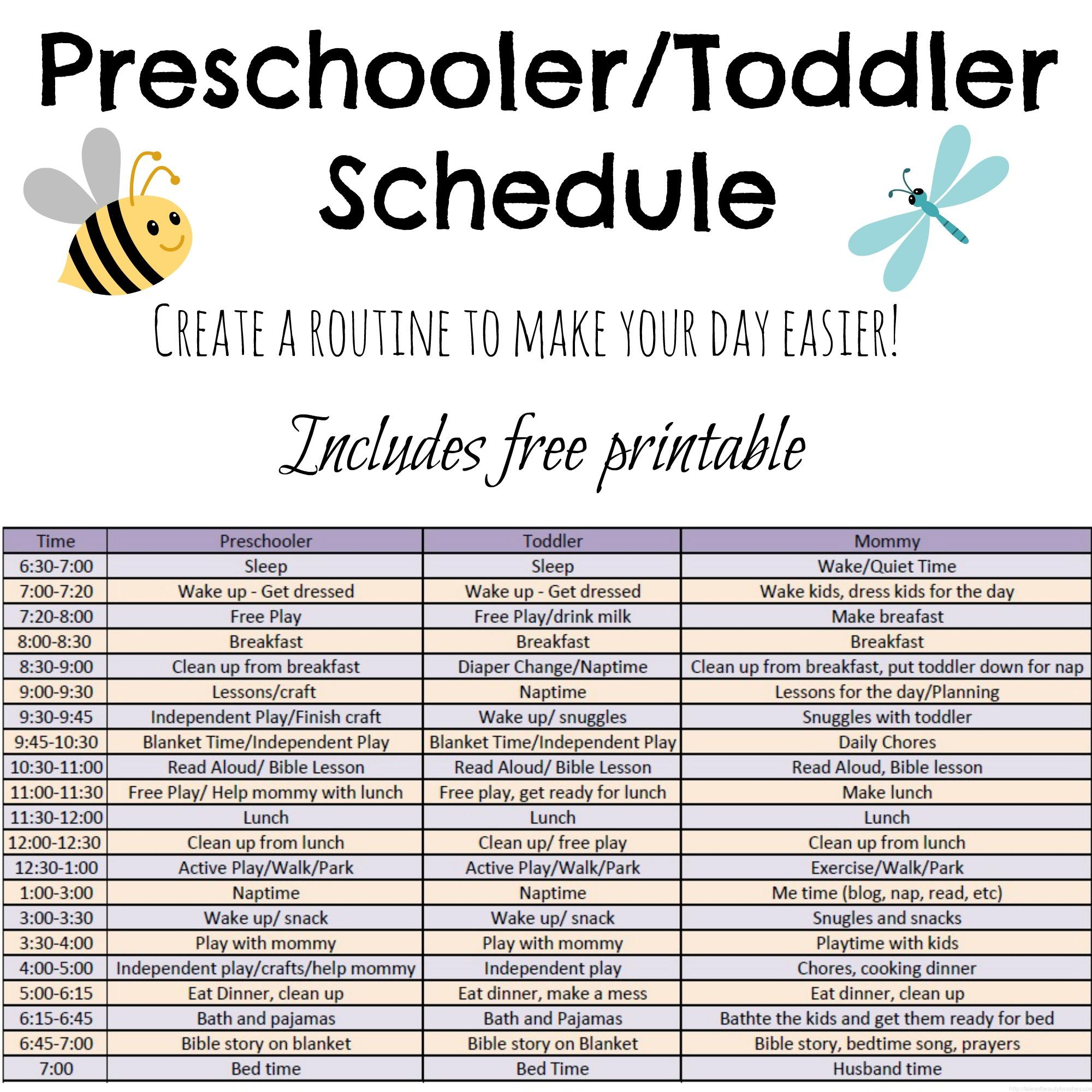 Toddler And Preschooler Daily Schedule