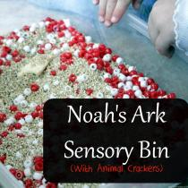 This sensory bin is so much fun and a great way to follow up teaching about Noah's Ark!