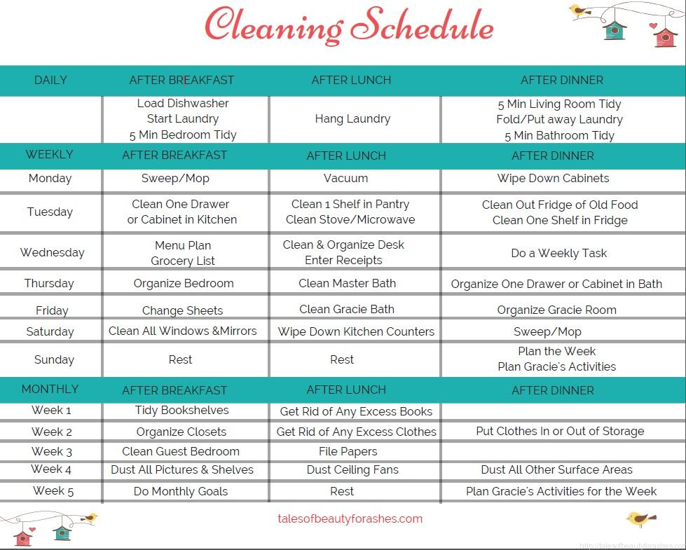 A simple weekly cleaning schedule Tales of Beauty for Ashes – Cleaning Schedule
