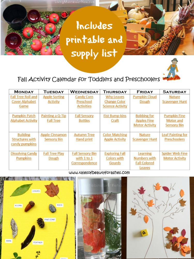 Fall Activity Calendar For Preschoolers And Toddlers  Tales Of