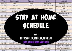 Stay at Home Schedule for three kids; preschool, toddler, and baby