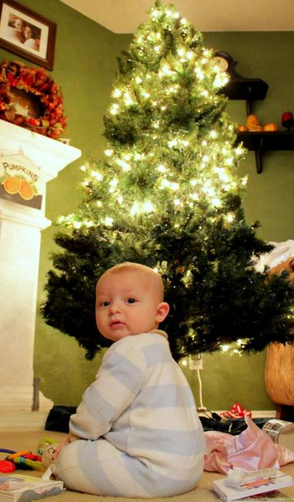 Baby Levi and christmas tree