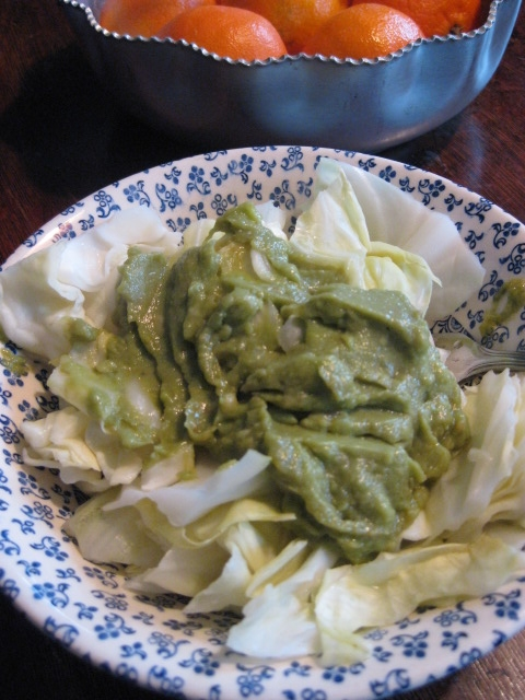 steamed cabbage topped with 2T of Wholly Guacamole