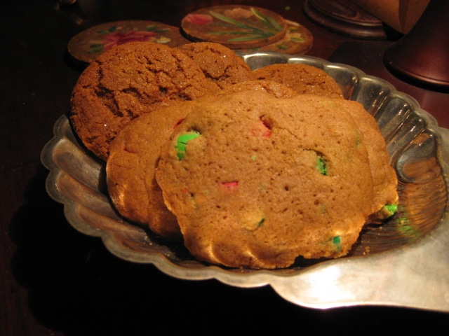 molasses cookies and m&m cookies (I had one of each)