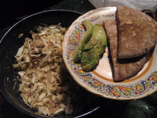 turkey salad, 1/4 avocado, toasted whole wheat pita