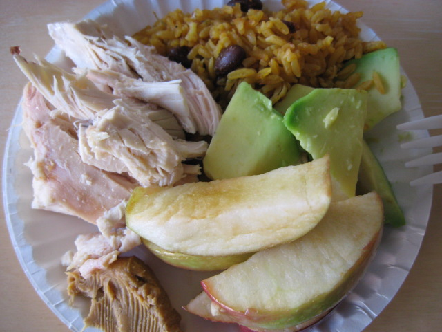roasted chicken, rice + beans, avocado, apple slices, pb (x2 plates! (but they're mini-plates))