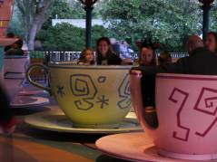 Minnie Mouse and Mom on the teacups