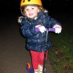 Fidget on her Mini Micro Scooter and out till last light on a cold evening.