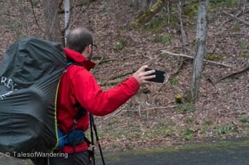 Mr. Kool-Aid filming himself with a baby deer.