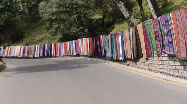 A beautiful road side near Murree selling shawls