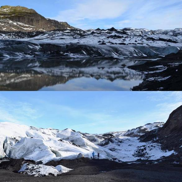 Differences between the Sólheimajökull glacier from 2013 (top) to 2016 (bottom).