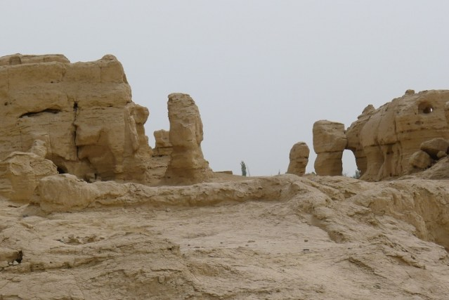 Ancient Ruins Of Jiaohe City, built with Adobe. It is about 2000 years old